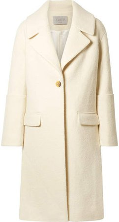 GREY - Oversized Wool Coat - Cream