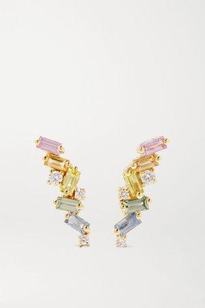 Gold 18-karat gold, sapphire and diamond earrings | Suzanne Kalan | NET-A-PORTER