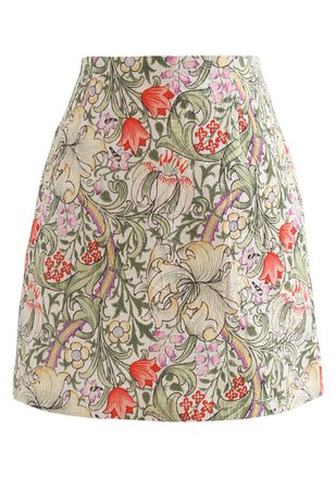 Tulip Print Embossed Bud Skirt in Yellow - Retro, Indie and Unique Fashion