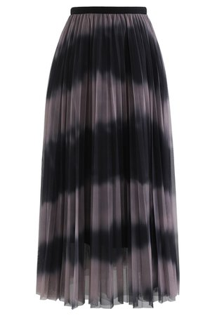 Color-Block Mesh Tulle Pleated Midi Skirt in Dusty Pink - Retro, Indie and Unique Fashion