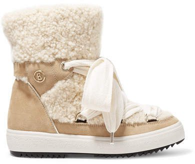 Anchorage Suede And Shearling Ankle Boots - Sand