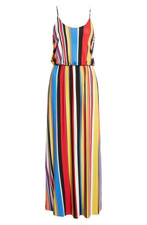 All in Favor Knit Maxi Dress Red Multi
