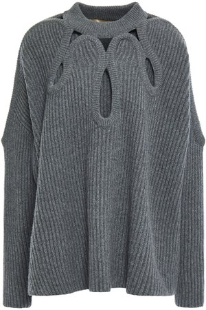 Gray Cutout ribbed merino wool and cashmere-blend sweater | Sale up to 70% off | THE OUTNET | ANTONIO BERARDI | THE OUTNET
