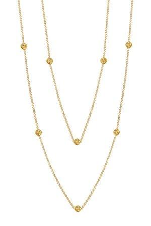 LaFonn | 18K Gold Vermeil Simulated Diamond Micro Pave Diamond Dots Necklace | Nordstrom Rack
