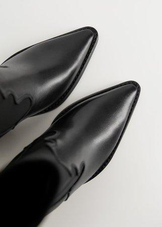 Elastic panels leather ankle boots - Women | Mango USA
