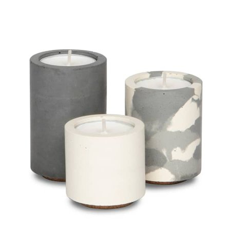 Concrete Tealight Trio Candle Holders With Soy Wax Tealights In Grey Snocam And White | CONCRETE & WAX | Wolf & Badger
