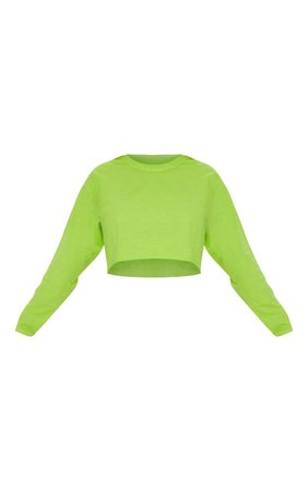 Neon Lime Crop Long Sleeve T Shirt | PrettyLittleThing