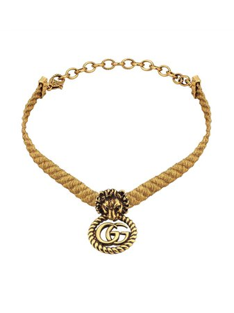 Lion Head choker with double G Gucci