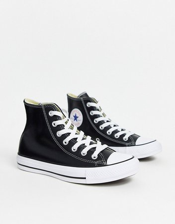 Converse Chuck Taylor All Star Hi black leather sneakers | ASOS