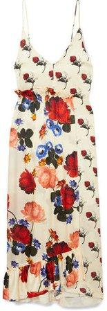 Wrap-effect Floral-print Silk-satin Maxi Dress - Ivory