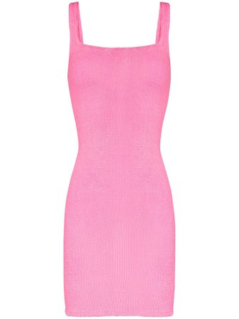 Shop pink Hunza G fitted knitted tank dress with Express Delivery - Farfetch