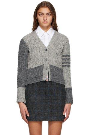 THOM BROWNE Grey Wool & Mohair Funmix Aran Cable 4-Bar Cardigan | SSENSE