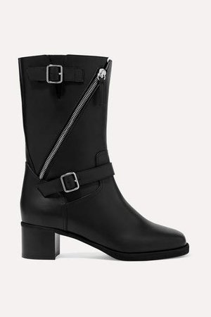 Esther Buckled Leather Boots - Black