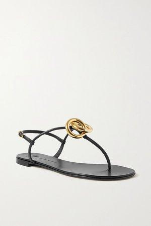 Black Embellished leather sandals | Giuseppe Zanotti | NET-A-PORTER