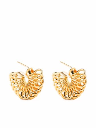 Shop Bottega Veneta hoop-detail Disc earrings with Express Delivery - FARFETCH