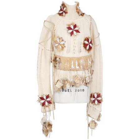 John Galliano Cream Knit Sweater with Suede and Fur Patch Details