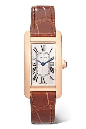 Cartier | Tank Américaine 34.8mm small 18-karat pink gold and alligator watch | NET-A-PORTER.COM