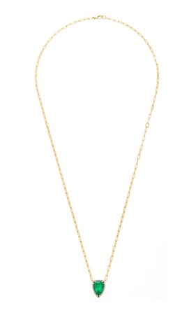 Jemma Wynne One of a kind 18k yellow gold and Emerald Necklace