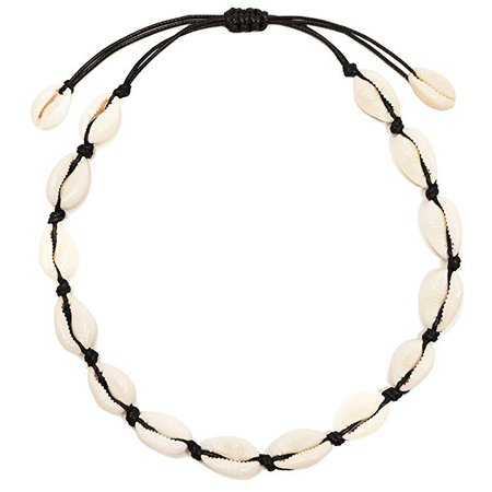 CUSVUEVI Women's Natural Cowrie Shell Necklace, Handmade Shell Choker Adjustable Necklace Hawaii Beach Boho Jewelry(Black): Jewelry