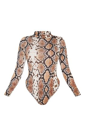 Grey Snake Print Roll Neck Bodysuit | Tops | PrettyLittleThing