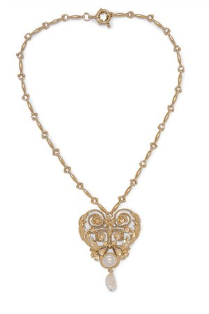 Etro | Gold-tone, crystal and faux pearl necklace | NET-A-PORTER.COM