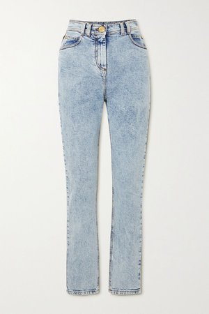 Blue Acid-wash high-rise skinny jeans | Balmain | NET-A-PORTER