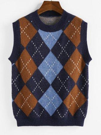 [36% OFF] [NEW] 2020 ZAFUL Argyle Rib Trim Sweater Vest In DEEP BLUE | ZAFUL