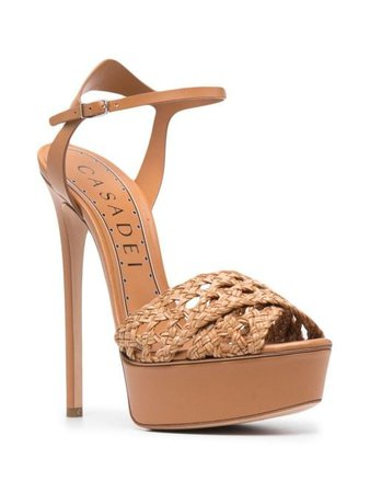 Shop brown Casadei woven platform sandals with Express Delivery - Farfetch