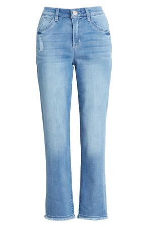 Wit & Wisdom Luxe Touch Ab-Solution Distressed High Waist Straight Leg Jeans (Nordstrom Exclusive) | Nordstrom