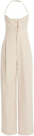 Jacquemus Loya Linen-Blend Wide-Leg Halter Jumpsuit