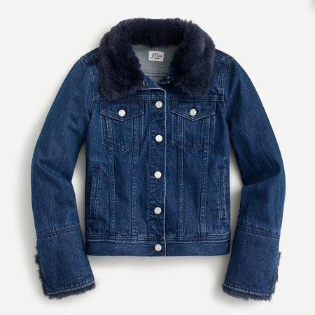 J.Crew: Classic Denim Jacket in Faux Fur