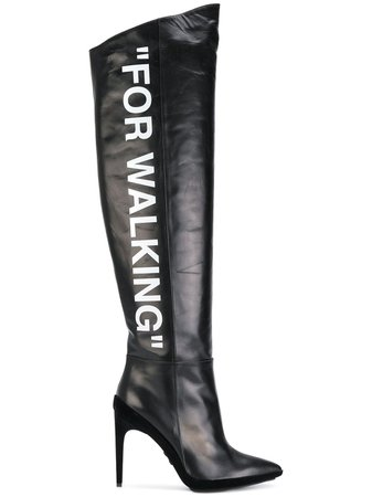 """Off-White """"For Walking"""" knee-high Boots - Farfetch"""