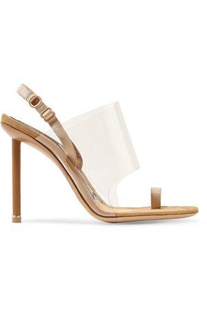 Alexander Wang | Kaia grosgrain-trimmed suede and PVC slingback sandals | NET-A-PORTER.COM