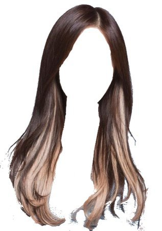 brown hair with blonde/white tips streaks png