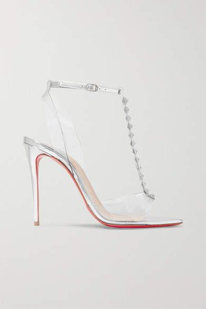 Jamais Assez 100 Spiked Pvc And Metallic Leather Sandals - Silver