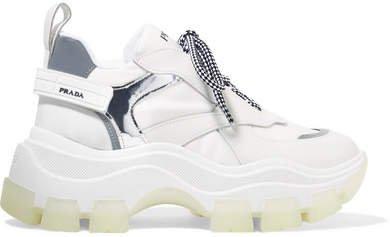 Pegasus Metallic-paneled Leather And Canvas Sneakers - White