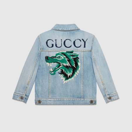 Children's denim jacket with wolf back