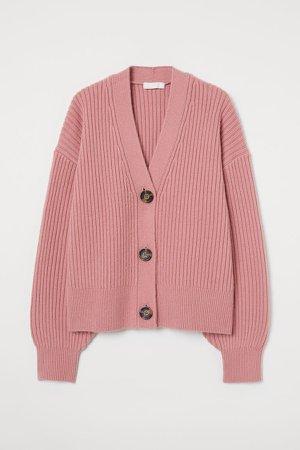 Rib-knit Cardigan - Pink