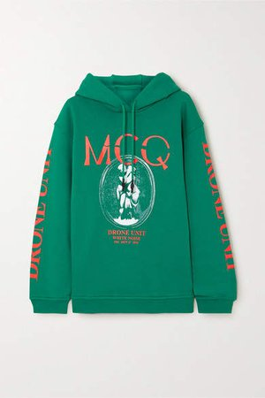 Oversized Printed Cotton-jersey Hoodie - Green