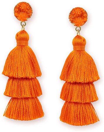 Amazon.com: Me&Hz Fashion Colorful Tassel Dangle Drop Earrings for Women Girls Bright Orange Layered Tassel Hypoallergenic Studs Thanksgiving Halloween Jewelry Christmas Gift: Clothing