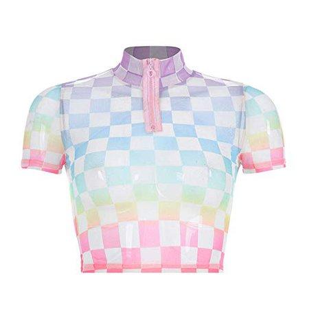 Amazon.com: Mulheres Harajuku Kawaii Checkerboard Malha T-Shirt Gola Gola Xadrez Frente Zíper Streetwear Crop Tops: Clothing