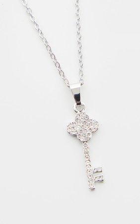 Silver Diamante Key Drop Necklace   PrettyLittleThing