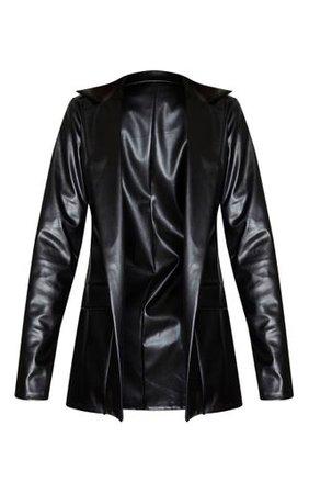 Tall Black Oversized Pocket Pu Blazer | Tall | PrettyLittleThing USA