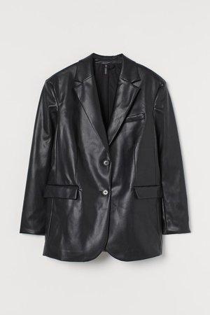 Oversized Faux Leather Jacket - Black - Ladies | H&M US