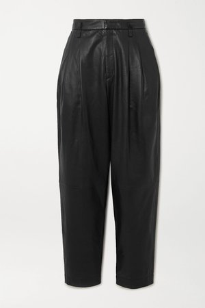 Black Leather tapered pants | REDValentino | NET-A-PORTER