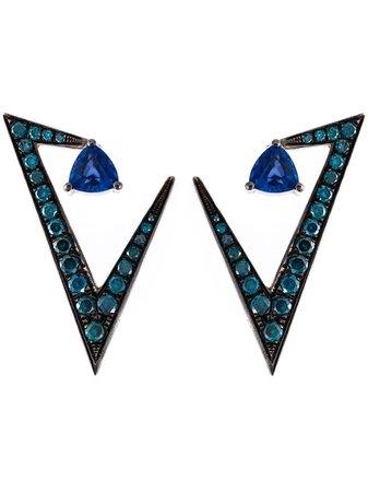 Nikos Koulis Geometric Sapphire And Diamond Earrings | Farfetch.com