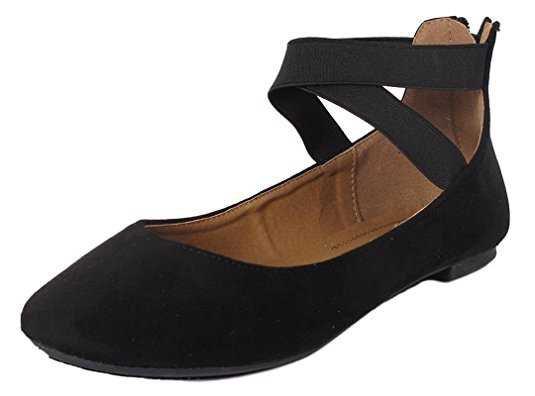 Amazon.com   Anna Home Collection Anna Dana-20 Women's Classic Ballerina Flats Elastic Crossing Straps   Flats