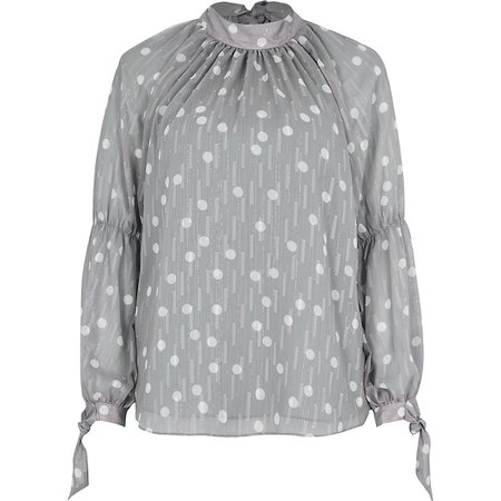 Silver long sleeve tie neck blouse   River Island