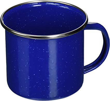 Texsport Blue Enamel Coffee Cup Mug with Stainless Steel Rim - Great for Outdoor Camping: Amazon.ca: Home & Kitchen
