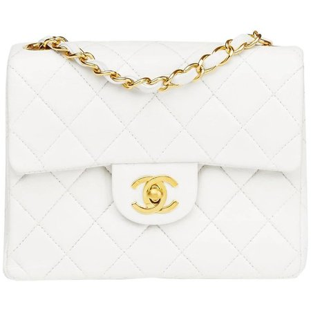 Chanel 1990s  White Quilted Lambskin Vintage Mini Flap Bag